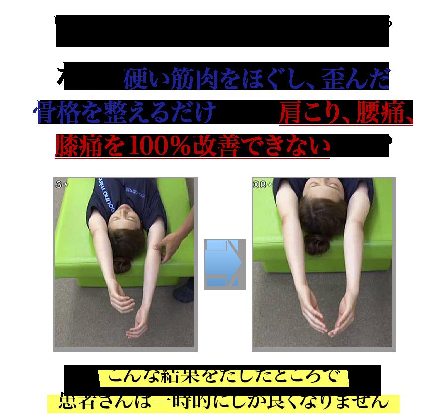 いつも使っている技術に3分加えるだけで効果が倍増する「患者さんの運動機能」をリセットする方法 なぜ、硬い筋肉をほぐし、歪んだ骨格を整えるだけでは、肩こり、腰痛、膝痛を100%改善できないのか?こんな結果をだしたところで患者さんは一時的にしか良くなりません