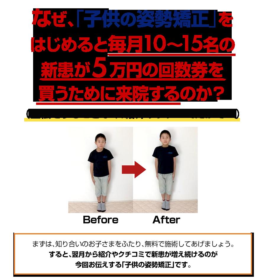なぜ、「子供の姿勢矯正」をはじめると毎月10~15名の新患が5万円の回数券を買うために来院するのか?(宣伝をすることなく、紹介やクチコミだけで…)