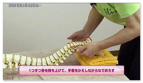 独特の手の動きが、椎体や横突起をとらえます