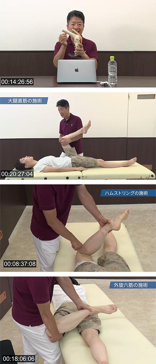 痛みのパターンごとに、膝痛の改善施術がわかりやすく学べます