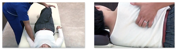 胸椎の施術は、ベッドに仰向けに寝た状態でおこないます