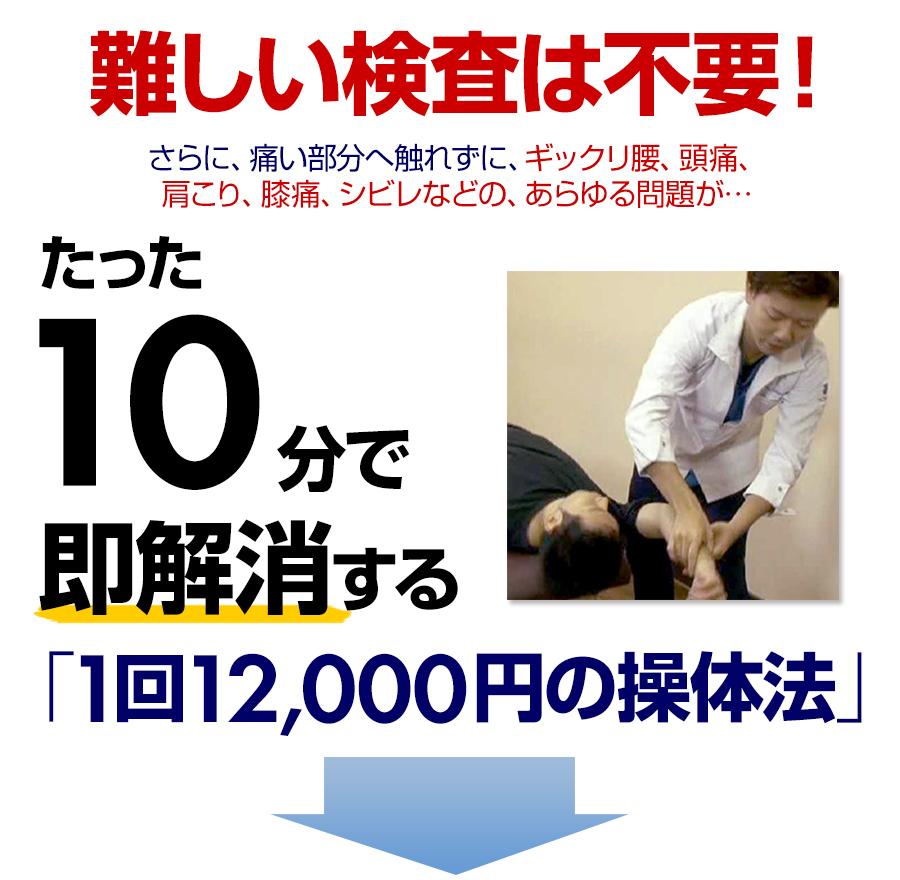 たった10分で即解消する「1回12,000円の操体法」